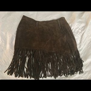 Real leather skirt !! Brown !